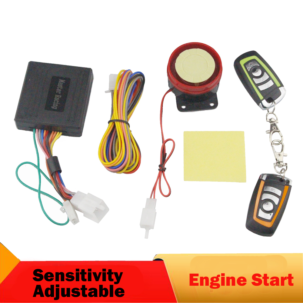 Universal Motorcycle Motor Alarm Scooter Anti-theft Security Alarm System Remote Control Engine Start Sensitivity Adjustable