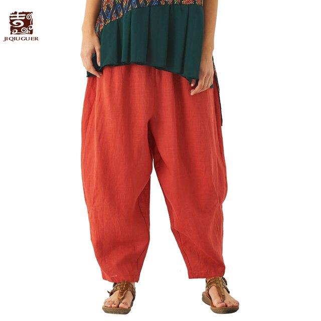 7d65cf3ccce Jiqiuguer Original Design Women Black Summer Solid Casual Trousers Pockets  Ankle Length 100% Linen Plus Wide Leg pants G181K005