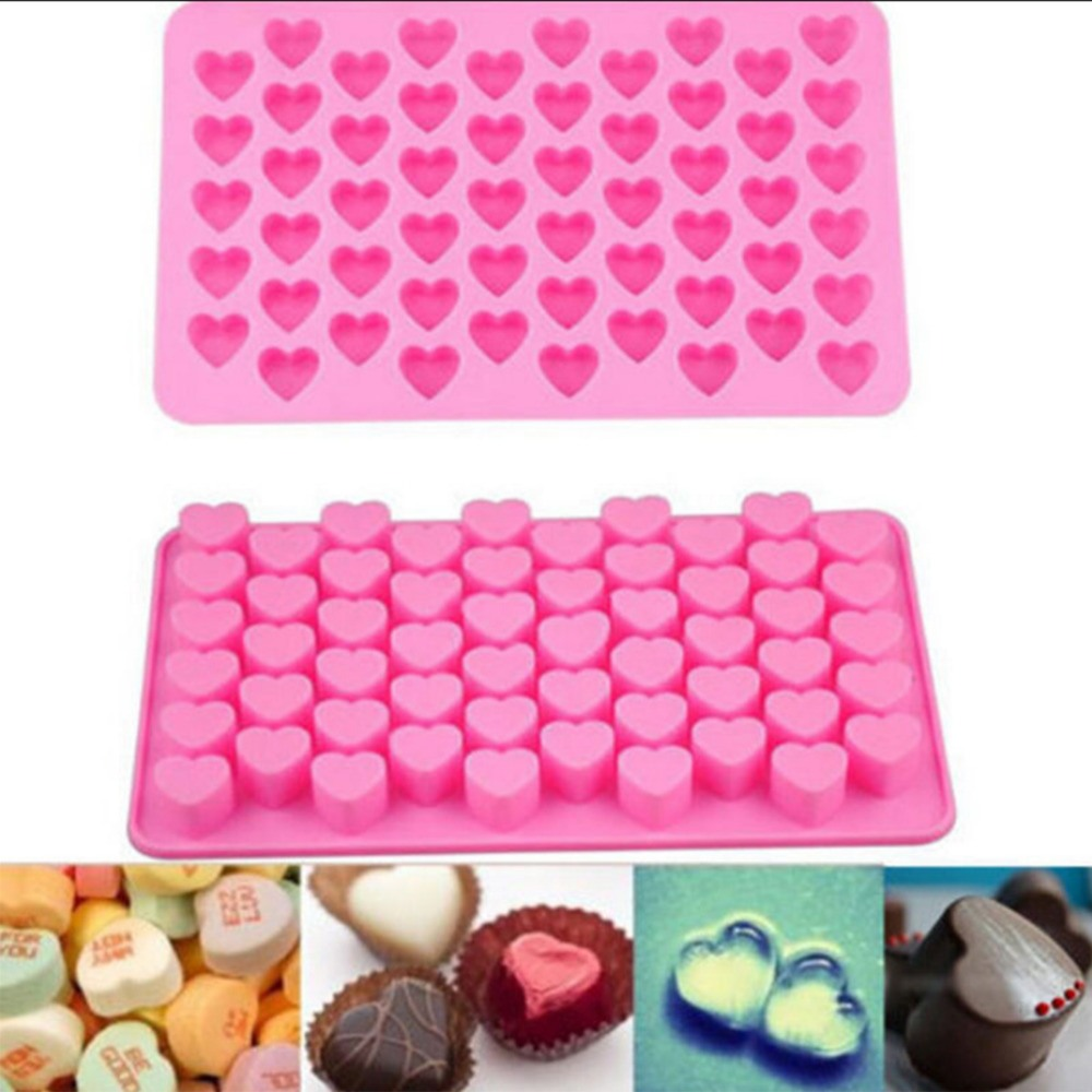 55 Hål DIY Mini Heart Cake Choklad Silikon Mögel Kakor Mögel Baktyp Mögel Expression Ice Mold Bake Tools
