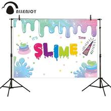 Allenjoy photography backdrop slime unicorn corner party decor banner background photocall photo shoot prop printed(China)