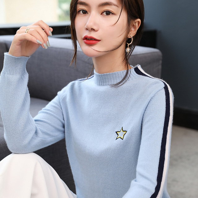 BELIARST Autumn and Winter New Women s Pure Cashmere Sweater Half-high O- Neck Short Sweater Pullover Knit Loose Bottoming Shirt 578dfb6a3
