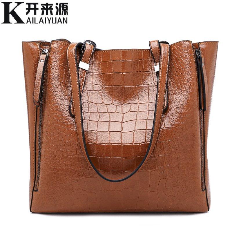 KLY 100% en cuir véritable Femmes sacs à main 2018 Nouvelle Mode une épaule portable dames grand sac multifonction motif crocodile