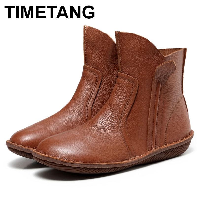 TIMETANG New Women Genuine Leather Fashion Boots Fashion Shoes Zip Design Size 35-42 Autumn Winter Style C306