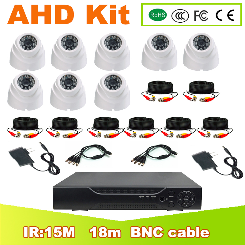 YUNSYE 8ch 1.0MP 2.0MP 4MP 5MP  CCTV Surveillance Kit DVR H.264 Video Recorder AHD KIT indoor White Dome Security Camera System