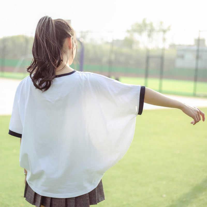 2019 verão de manga curta o pescoço de algodão topos camisetas femme capes t camisa das mulheres dos desenhos animados do gato da sorte impressão japão estilo harajuku t