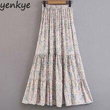 Boho Holiday Summer Skirts Womens Floral Printed Beach Long Skirt Maxi falda Lady Big Swing Pleated High Waist Skirt SDP8567