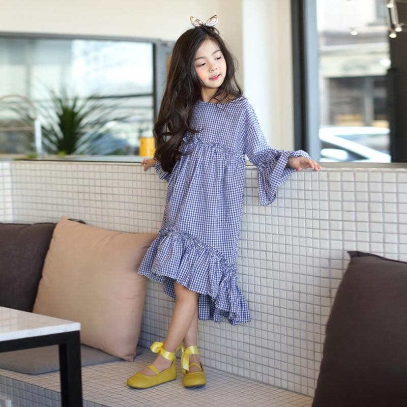 Children Clothing Kid Girls Dress 2019 New Korean Style Spring Autumn Cotton Plaid Princess Dresses Big Girl Ruffle Dress GDR530