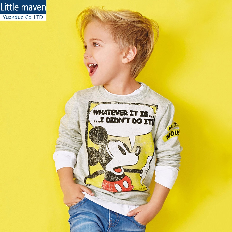 Little Maven Boys Sweatshirt Boys Long Sleeve Tops Cartoon Fall T-shirts for kids sweatshirt Baby T shirt autumn boy clothes