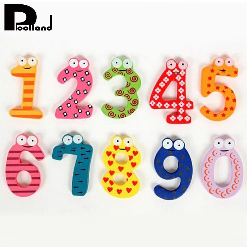 10 Stuks Houten Magneet Kids Math Speelgoed Leuke Cartoon Dier Nummers Educatief Nummer Leren Speelgoed Voor Baby Gift P20