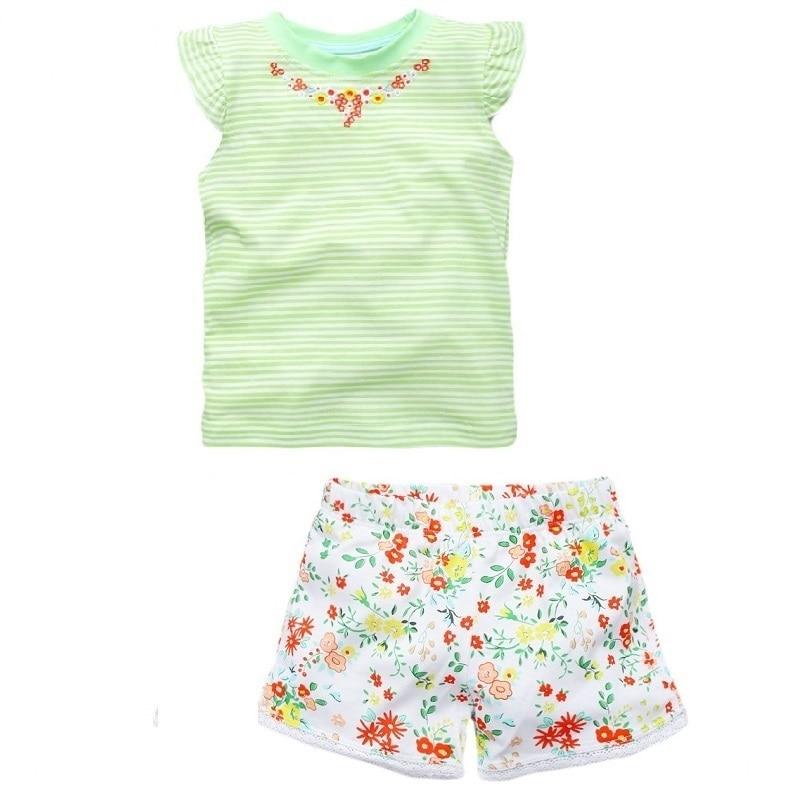 New Brand Girl Set Little Maven 1-6 Years Flower Printing Summer Set 100% Cotton Short T-shirt+Pant Children Set KF209 2017 new arriva girl t shirt 100