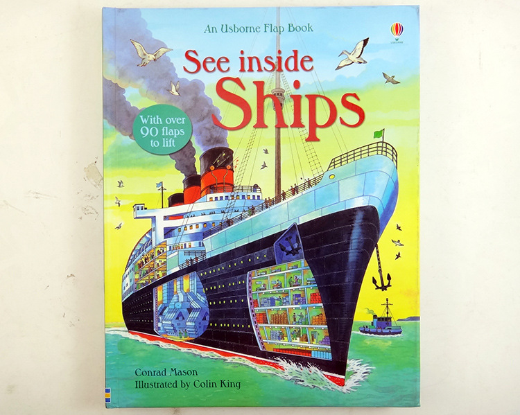 Usborne see inside ships English Educational flap Picture books For kids 3-6 years with over 90 flaps to lift 1pcs english picture flip learning education books for kids baby for children see inside weather and climate