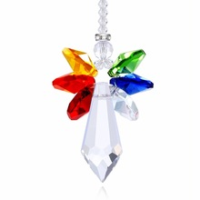1pc H & D Brand Rainbow Crystal Guardian Înger Chakra Suncatcher Vedere din spate Mirror Pendant Decor