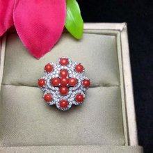 shilovem 925 sterling silver Natural red coral rings fine Jewelry  women trendy open party plant new gift lj030301agsh