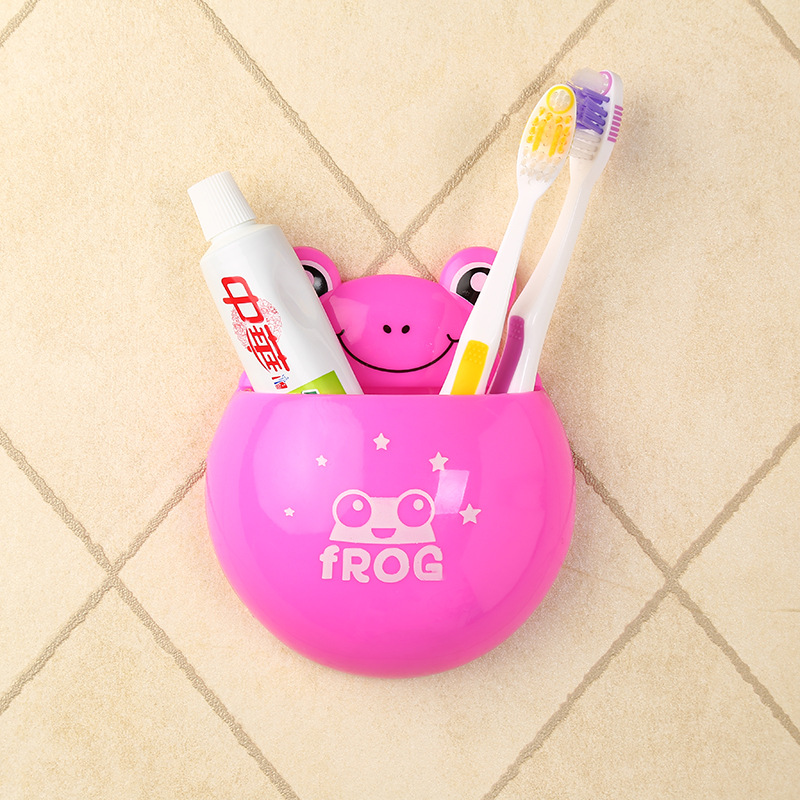 Tooth Brush Contain Baby Care Cartoon Animal Shape Holder Sucker Suction Hooks Set Hanging Baby Toothbrush Holder Towels Etc image