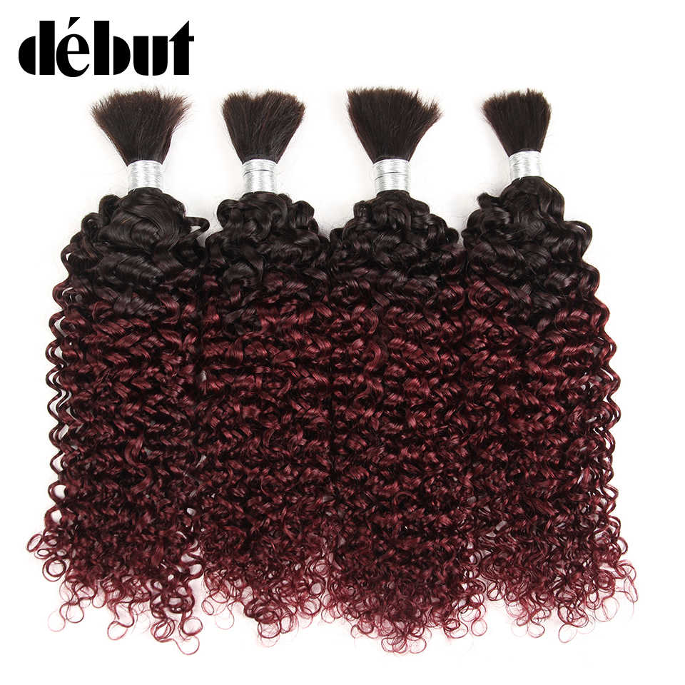 Debut Ombre #1B 99J Brazilian Curly Human Braiding Hair for Crochet Bulk Remy 4 Bundles Deal No Weft Remy Humain Hair Extension
