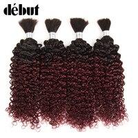 Debut Ombre #1B 99J Brazilian Curly Human Braiding Hair for Crochet Bulk Remy 4 Bundles Deal No Weft Remy Humain Hair Extension