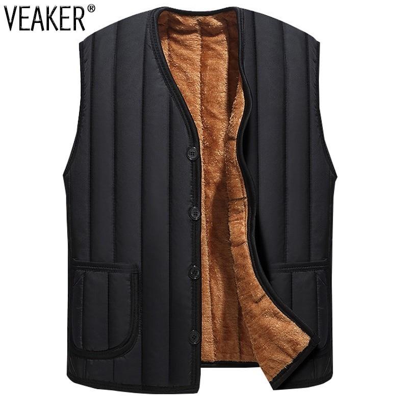 2018 Men's Black Fleece Vest Coat Male Winter Slee...