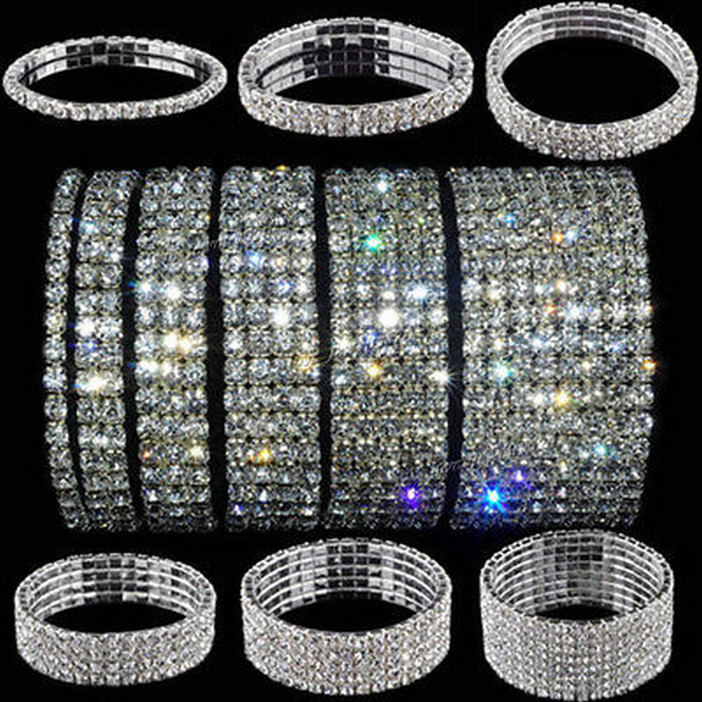 5 Styles Woman Bracelet Crystal Rhinestone Stretch Bracelet Bangle Wristband Elastic Wedding Bridal Jewelry