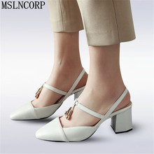 цена на plus size 34-46 Women Summer Sandals Shoes Woman zapatos mujer Pointed Toe Thick Heels Pumps High Heels Sandalias Mujer feminina