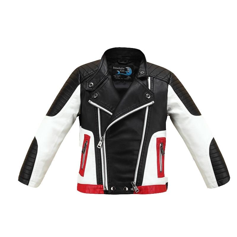 Fleece Spliced Color Cool Boys Girls Leather Jacket Thicken for Fall Winter Girls Motor Coat Bomber Baby Toddler Windbreaker color block panel bomber jacket