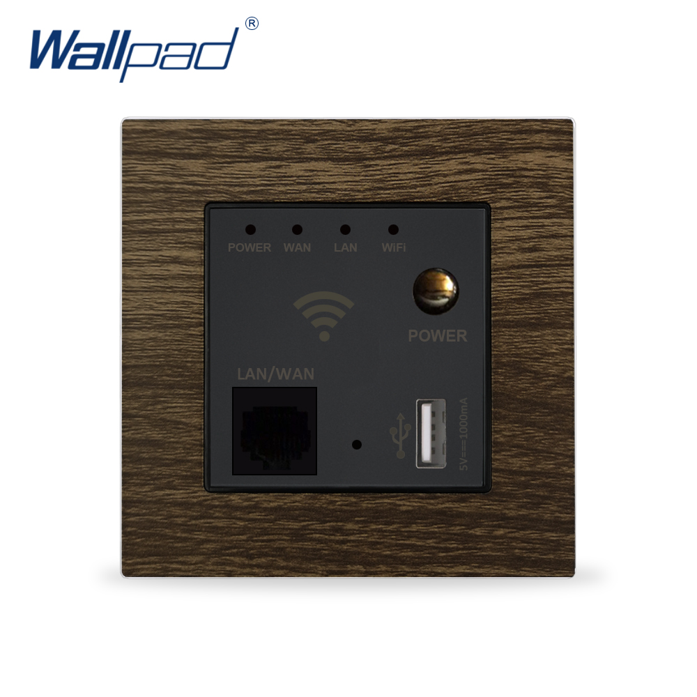 Wifi Router Switch Wallpad Aluminium Metal Panel Wood Design Wall Embedded Wifi Router Repeater Switch With USB Port