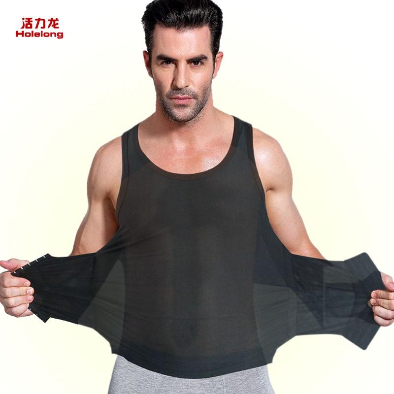 HOLELONG brand mens waist slim spandex silk bodysuit leotards girdles body slimming shaper belt burn fat underwear lose weight