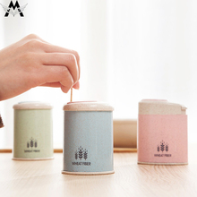 MeiJiaG Automatic Toothpick Holder Container Wheat Straw Household Table Storage Box Dispenser
