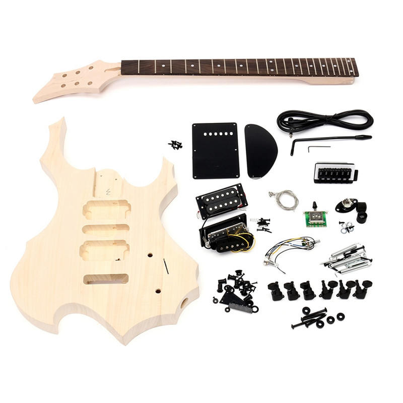 1Pc Unfinished Basswood Electric Guitar Children Handmade DIY Music Instrument Guitar Body Neck String Kits Kids Educational Toy dedo music gifts mg 308 pure handmade rotating guitar music box blue