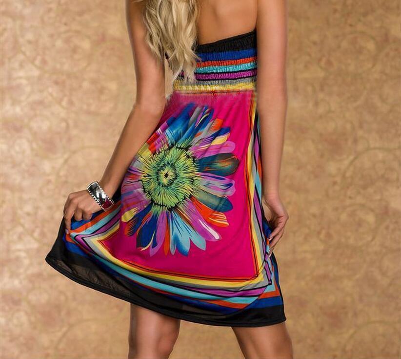 Summer Women Dress Sexy Sundresses Off Shoulder Beach Dresses Big Size Halter Mini SunDress 1