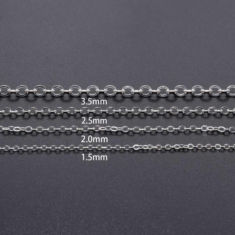 5M/lot 1.5 2.0 2.5 mm Gold Bronze Oval Link Necklace Chain Bulk Brass For Jewelry Making DIY Materials Findings Supplies 3