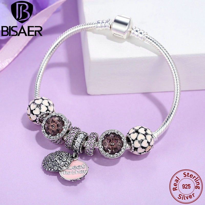 BISAER 925 Sterling Silver Mother Gift Charms Radiant Heart Charm Bracelets For Women Sterling Silver Jewelry Gift EDB006 цена 2017