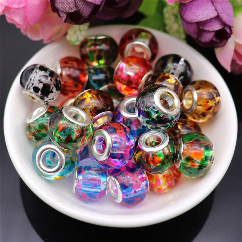 10Pcs 16mm Flower Round Loose Big Hole Glass Bead Crystal Clear Beads Charm fit for Pandora Bracelet Necklace DIY Jewelry Making in Beads from Jewelry Accessories