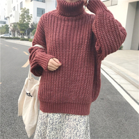 RUGOD Fashion Solid Christmas Sweater Turtlenck Long Sleeve Women Sweaters And Pullovers Casual Thick Pull Hiver
