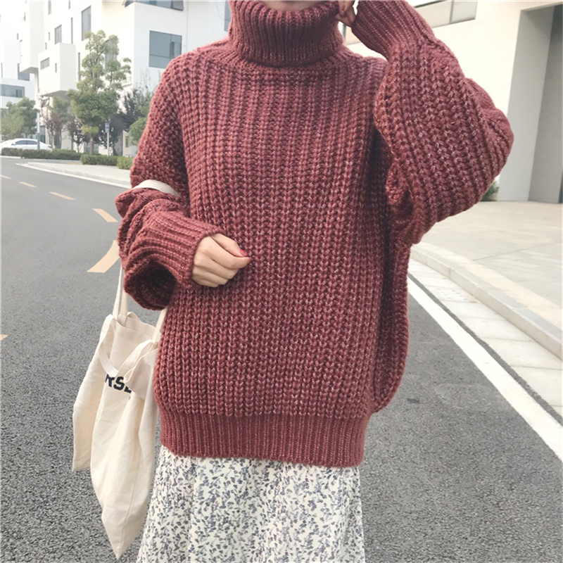 RUGOD Fashion Solid Christmas Sweater Turtlenck Long Sleeve Women Sweaters And Pullovers Casual Thick Pull Hiver Femme 2018