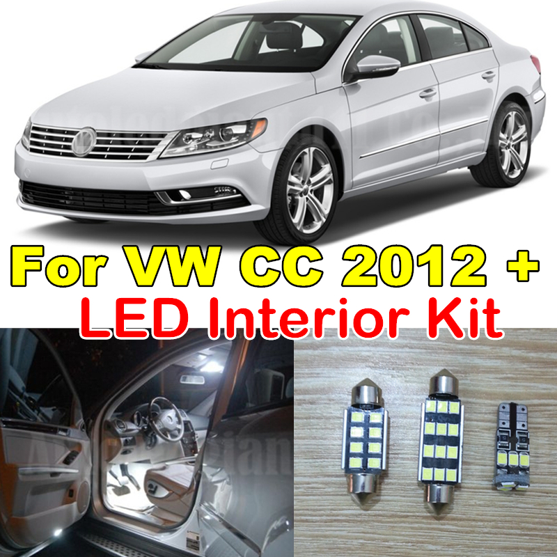 WLJH 11X Pure White Error Free Vanity Dome Trunk Light Kit For Volkswagen VW CC Interior Canbus LED Light Package 2012 ~2015 18pc canbus error free reading led bulb interior dome light kit package for audi a7 s7 rs7 sportback 2012
