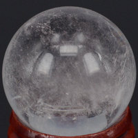 1 2 30MM Natural Clear Quartz Crystal Sphere Globe Ball Chakra Healing Reiki Stone Carving