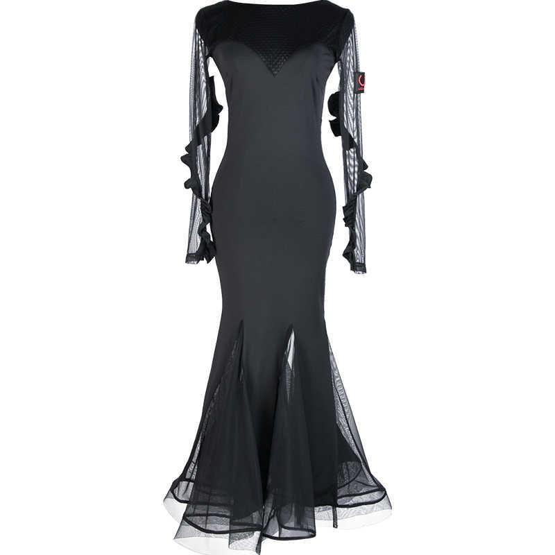 Hohe Qualität Latin Dance Kleid Schwarz Milch Faser Flapper Kleid Damen Backless Dance Tragen Für Ballsaal Salsa Rumba Tanzen DC1061