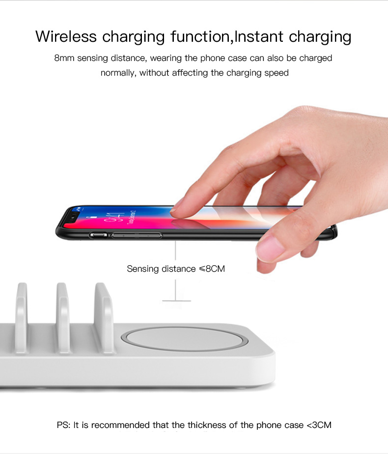 Wireless charger Multiple USB Phone Charger QC 3.0 Fast charging with LED mushroom lamp (1)