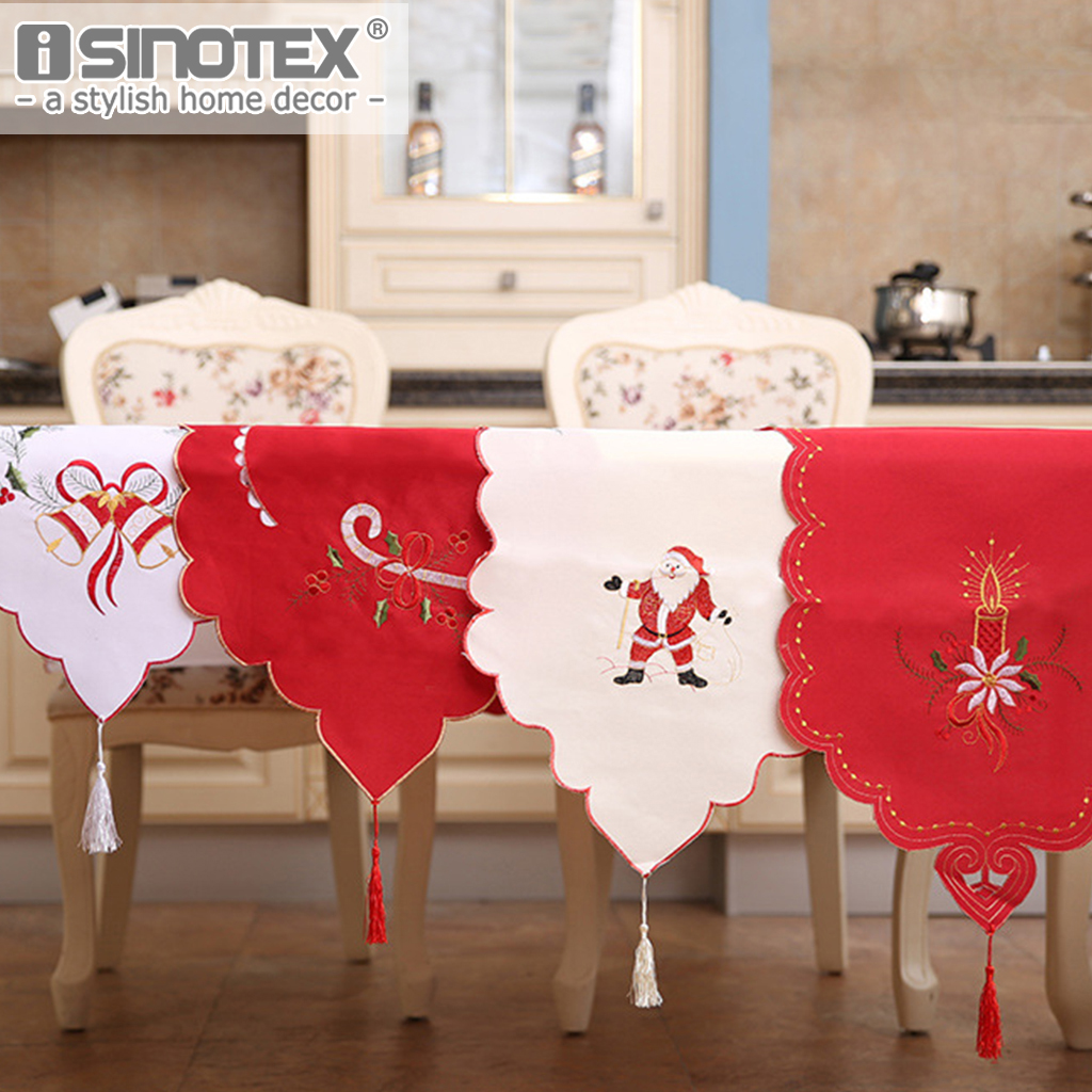 Table Runner Cloth Christmas Gift Santa Claus Festival New Year Decoration Table Living Room Home Textile 40x170CM 4 Colors 1PCS