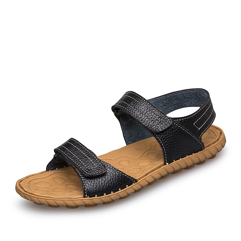 ФОТО 2017JOES Summer new Cow Leather sandals Leather breathable Beach shoes fashion Wild Soft bottom Simple Black Brown
