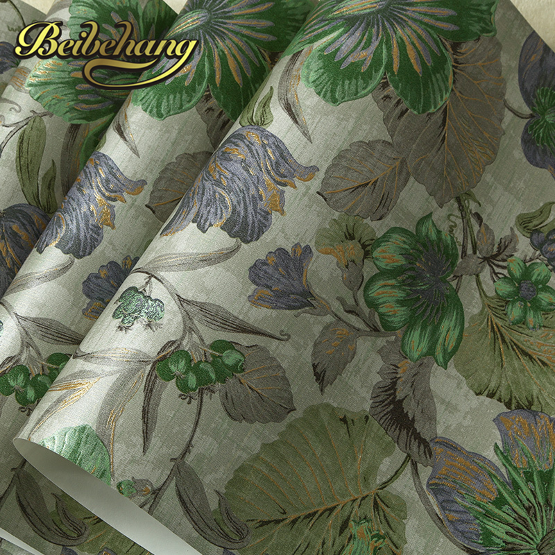 beibehang wall paper Pune environmental non-woven American rural countryside flower painting style backdrop wallpaper bedroom beibehang american non woven wallpaper bedroom living room tv background retro green rural countryside large flower wallpaper