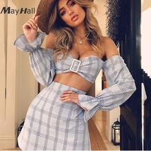 MayHall 2018 New Slash neck Plaid Summer Two pieces set Dress for Women Flare Sleeve off  the shoulder vestido conjunto feminino
