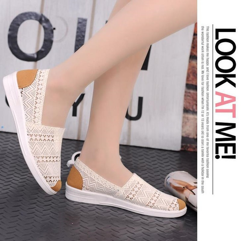 Free Shipping Women Casual Shoes Spring Summer Hollow Lace Flat Shoes Breathable Soft Women Shoes HSE12 (3)