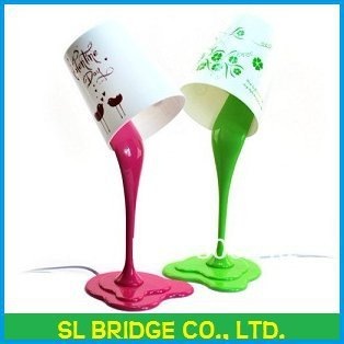 Free Shipping lovely paint bucket desk lamp with four subject pattern for your choise  D14341SL