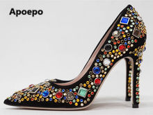 Apoepo Women pointed toe mixed colors bling bling crystal high heel pumps  shining beaded wedding shoes size US 10 real photo d3abcc6f9d69
