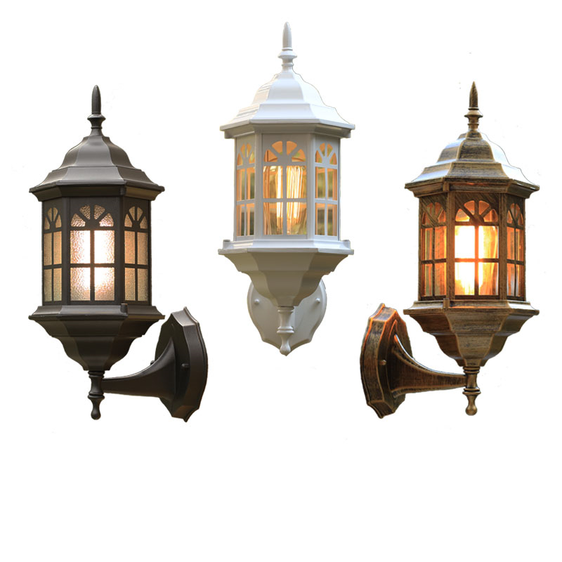 H41cm Black/Bronze/White Vintage European Iron Wall Lamp AC85-265V Modern Home Lighting Outdoor Waterproof Decor Light ,WLL-348 the ivory white european super suction wall mounted gate unique smoke door