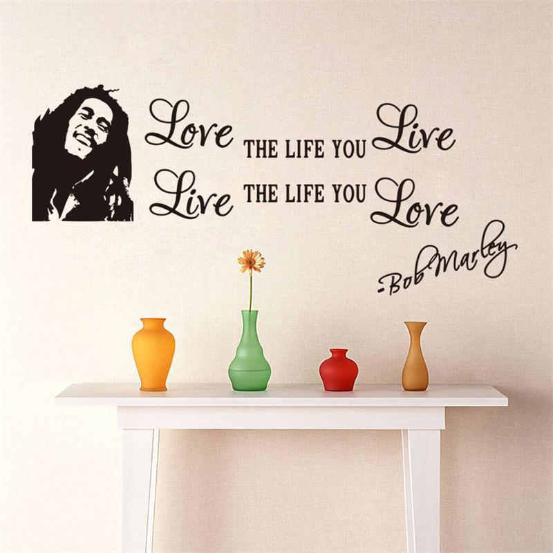 creative wholesale bob marley quotes vinyl home decals poster art diy wallpaper wall stickers wedding decoration zy8379 in wall stickers from home garden