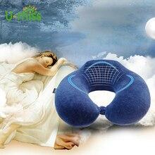 U-miss U-shaped memory foam Soft Slow Rebound Travel Neck Pillow Solid Health Care Headrest For Office Car Flight Traveling
