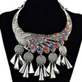 Retro Silver Fashion Necklaces Carved Flower Chinese Classical Element Peacock Tassel Choker Statement Necklace Women Jewelry