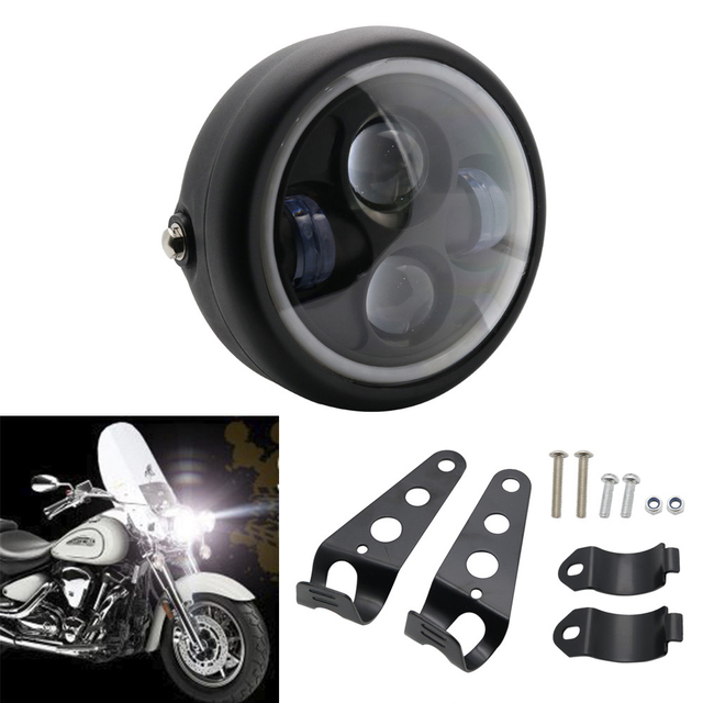 6.5″ 5.75 inch Motorcycle LED Headlight DRL With Bracket Cafe Racer For Harley Sportster Cafe Racer Bobber Iron 883 Indian Scout